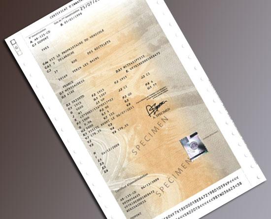 Le certification d'immatriculation, dit carte grise, à ...